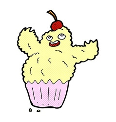 comic cartoon cupcake monster vector image vector image