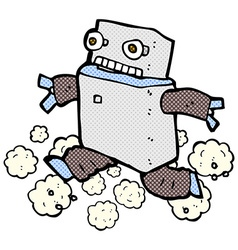 Comic cartoon running robot vector