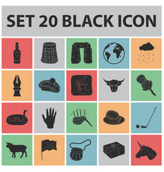 country scotland black icons in set collection for vector image
