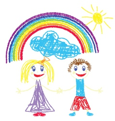 Crayon pained kids and rainbow vector image