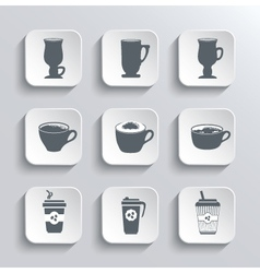 cup coffee web icons set in black and white vector image