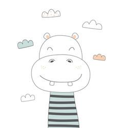 Cute hippo in scandinavian vector