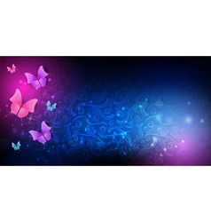 Dark background butterfly vector