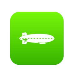 Dirigible balloon icon digital green vector