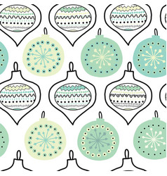 doodle christmas tree ornaments seamless vector image