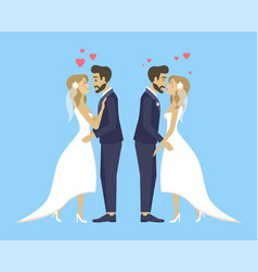 double wedding bride and groom kissing and hugging vector image