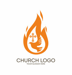 Dove the flame and the cross vector