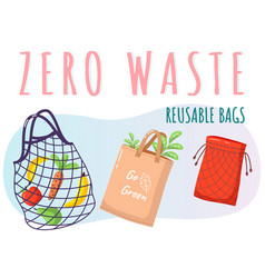 Eco-friendly reusable bag set with products zero vector