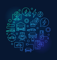 Electric car blue round line vector