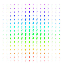 Electric strike icon halftone spectrum grid vector