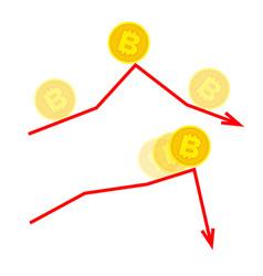 falling bitcoin concept vector image