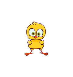 flat cute chicken chick standing vector image