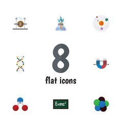 Flat icon study set of genome electrical engine vector