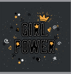 Girl power with crown lettering with on gray vector