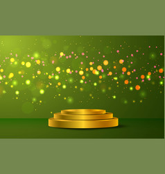 Golden podium with colorful light on green bac vector