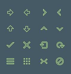 green outline various navigation menu buttons vector image