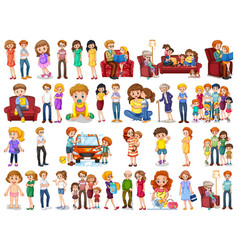 Group family member characters vector