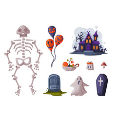 halloween symbols collection holiday party design vector image