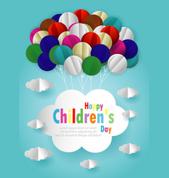 happy children day background origami balloons vector image