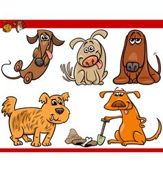 happy dogs cartoon set vector image