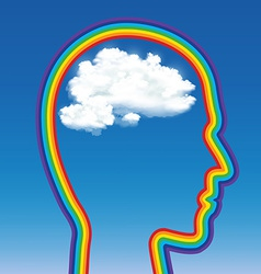 Head of a man in the shape of a rainbow with a vector