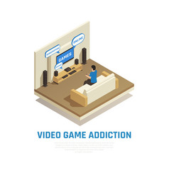 isometric videogame addiction background vector image
