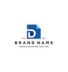 Letter d document logo design vector