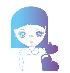Line avatar girl with hairstyle and hearts design vector