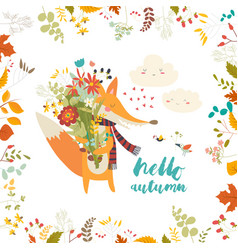Lovely autumn card with a fox and flowers vector