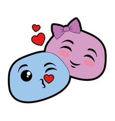 lovely emoji faces icon vector image