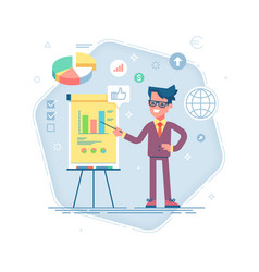 man standing near flip chart and pointing graph vector image