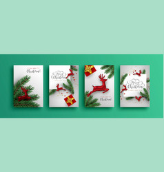 merry christmas new year red 3d reindeer card set vector image