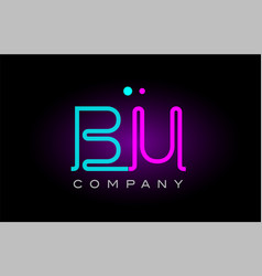 neon lights alphabet bu b u letter logo icon vector image
