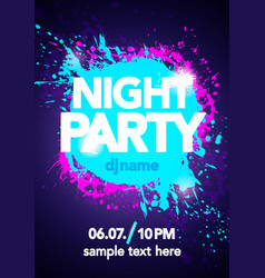 night party design mock up with bright colors vector image