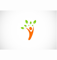 people plant organic logo vector image