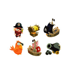 Pirate game elements set user interface assets vector