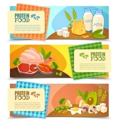 Protein Food Flat Horizontal Banners Set vector