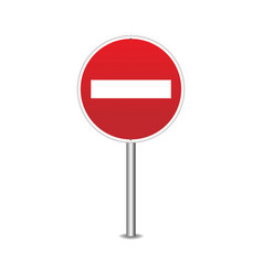 road sign blank realistic red sign vector image