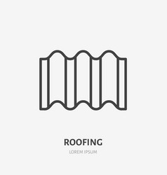 Roofing flat line icon of ondulin vector