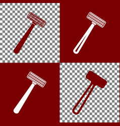 Safety razor sign bordo and white icons vector