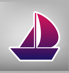 sail boat sign purple gradient icon on vector image
