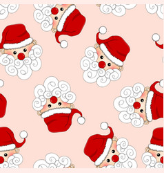 santa claus seamless on light pink background vector image