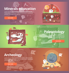 Science of life minerals excavation paleontology vector