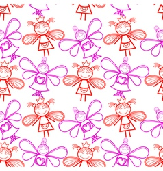 Seamless pattern with little fairies vector image