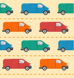 seamless pattern with minivan cars vector image