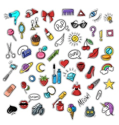 set of fashionable patches Modern doodle pop art vector image
