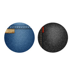set of two round denim backgroundsbanners vector image