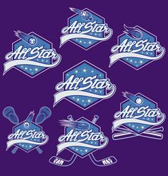 set vintage sports all star crests vector image