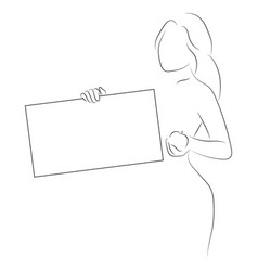 silhouette of a slender girl with a frame for text vector image