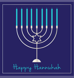 Silver hannukah menorah graphic on blue vector